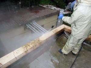 モルタル笠木高圧洗浄